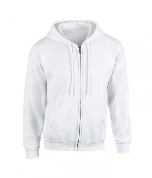 White hoodie with zipper